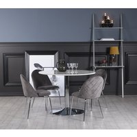 Plaza spisegruppe, marmorbord med 4 st Plaza fløyelstoler - Grå/Hvit/Krom