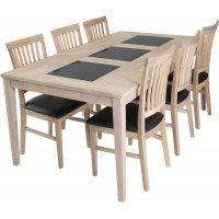 Visingsö spisegruppe inkl. 6 stk Luleå stoler - Hvitoljet eik/granitt