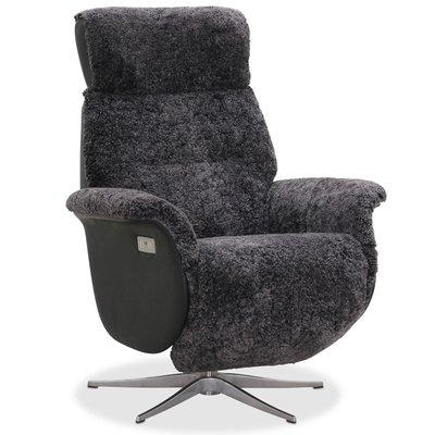 Duvnäs recliner med innebygget fotskammel (El) - Grått fåreskinn