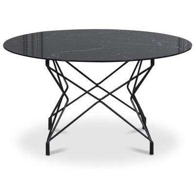 Sofabord Star 90 cm - Svart marmorert glass / Svart understell