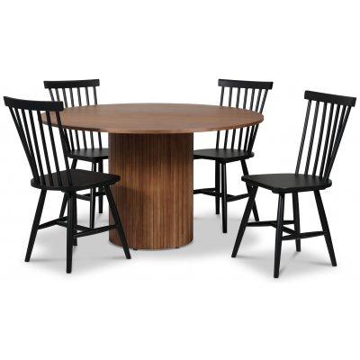 Pose spisegruppe: Bord Ø130 cm inkludert 4 stk Fårö pinnestoler - Valnøtt