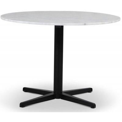 SOHO spisebord Ø105 cm - Matt svart kryssfot / Lys marmor