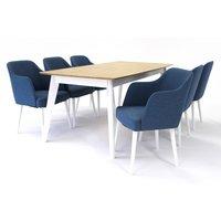 Sarek spisegruppe - Bord inklusive 6 st Sarek stoler - Hvit/eik