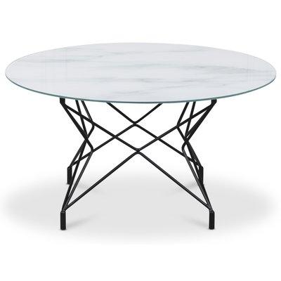 Sofabord Star 90 cm - Hvitt marmorert glass / Svart underdel
