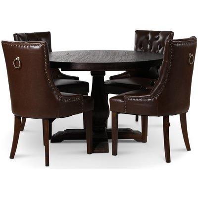 Lamier spisegruppe Bord med 4 stk. Tuva stoler i brun PU med rygghåndtak