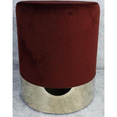 Rund sittepuff sylinderformet - Bordeaux (Fløyel) / Messing