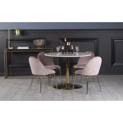 Plaza spisegruppe, marmorbord med 4 st Plaza fløyelstoler - Rosa/Hvit/Messing
