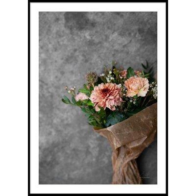 ORANGE FLOWER BOUQUET - Plakat 50x70 cm