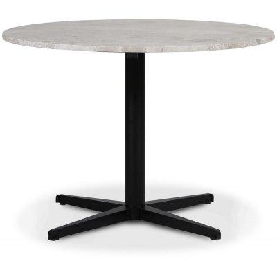 SOHO spisebord Ø105 cm - Matt svart kryssfot / Sølvmarmor
