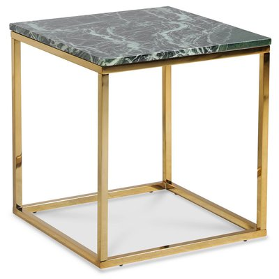 Accent stuebord 50 - Grønn marmor / Blank messing