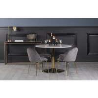 Plaza spisegruppe, marmorbord med 4 st Plaza fløyelstoler - Grå/Hvit/Messing