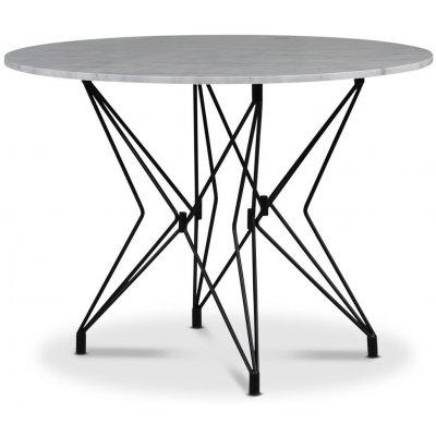 Zoo spisebord Ø105 cm - Svart / Lys Marmor