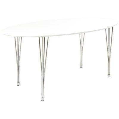 Brick ovalt spisebord 180 cm - Hvit / Krom