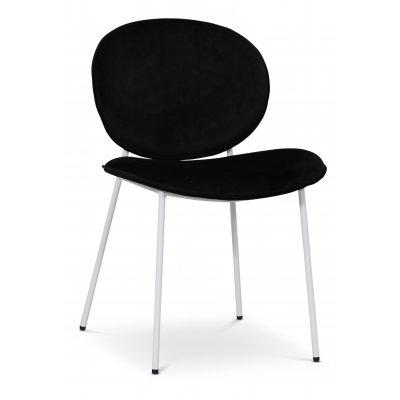 Rondo stol - Svart (Fløyel) / Hvit
