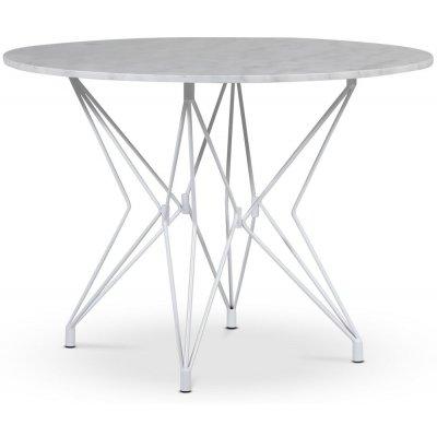 Zoo spisebord Ø105 cm - Hvit / Lys Marmor