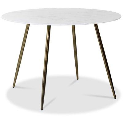 Art rundt spisebord 110 cm - Marmorert glass / Messing