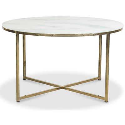 Palasso sofabord 80 cm diameter - Messing / lys marmorering