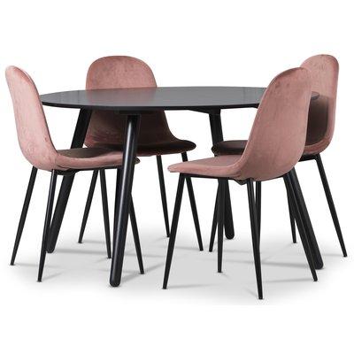 Rosvik spisegruppe, Spisebord med 4 st Carisma fløyelsstoler - Rosa/Svart