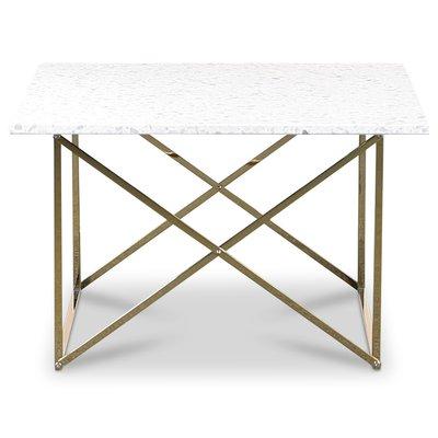Terrazzo sofabord 75x75cm - Bianco Terrazzo & underdel cross messing